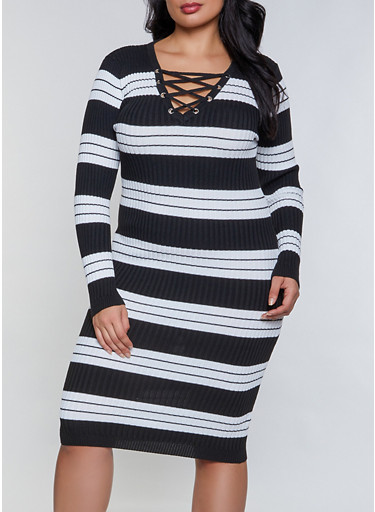 Plus Size Striped Lace Up Sweater Dress,BLACK,large