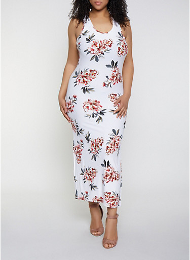 7b7e713aca7 Plus Size Side Slit Floral Maxi Dress