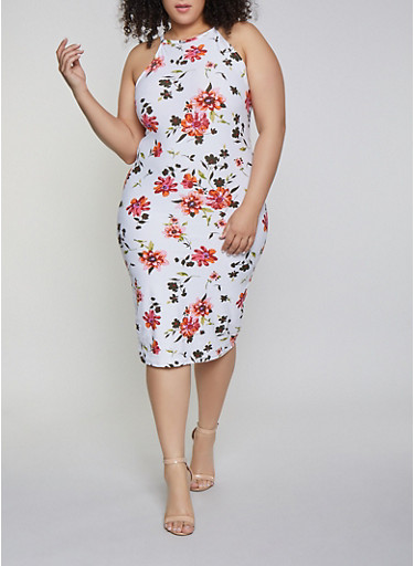 Plus Size Floral Midi Tank Dress | 1390051060946,IVORY,large