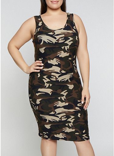 Plus Size Camo Tank Dress | 1390051060947,OLIVE,large