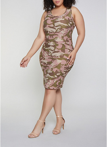 Plus Size Camo Tank Dress | 1390051060947,PINK,large