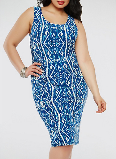 Plus Size Printed Tank Dress,MULTI COLOR,large