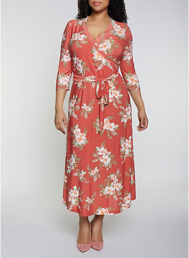 Plus Size Floral Belted Faux Wrap Maxi Dress,RUST,large