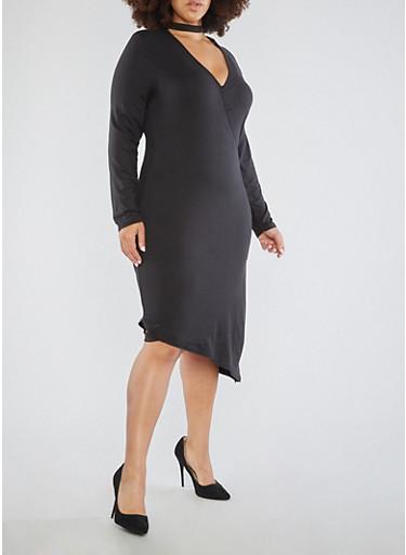 Plus Size Asymmetrical Keyhole Neck Dress,BLACK,large