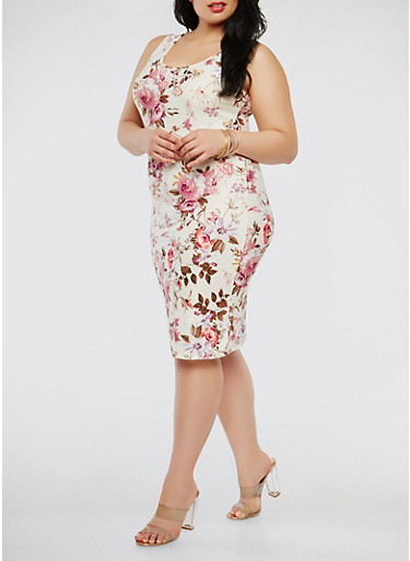 Plus Size Printed Tank Dress,IVORY,large