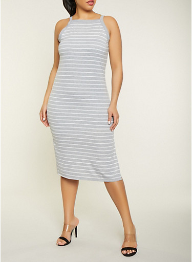 Plus Size Striped Square Neck Dress,HEATHER,large