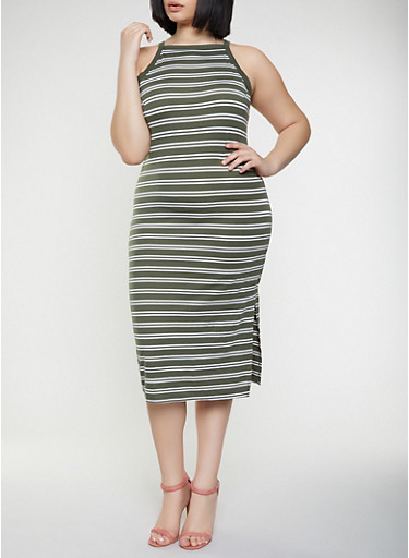 Plus Size Striped Tank Midi Dress,OLIVE,large