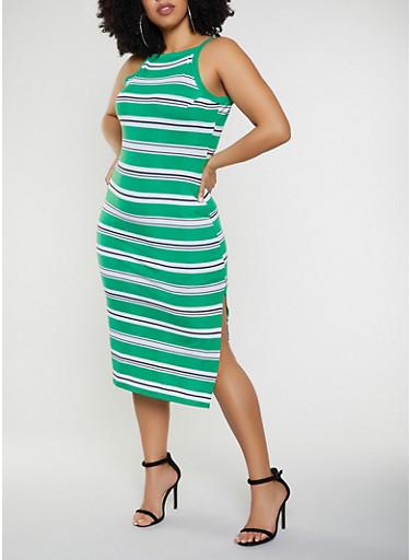 Plus Size Striped Square Neck Tank Dress,KELLY GREEN,large