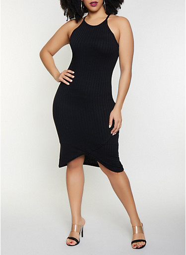 Plus Size Rib Knit Bodycon Dress,BLACK,large