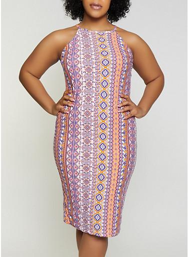 Plus Size Printed High Neck Midi Dress,IVORY,large
