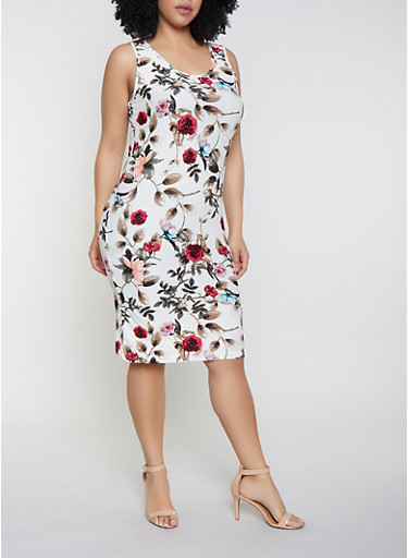 Plus Size Floral Tank Dress | 1390051063947,IVORY,large