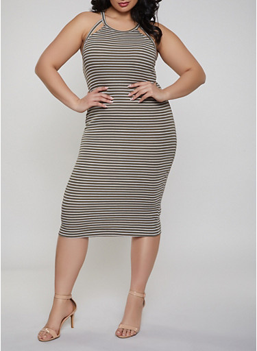 Plus Size Cut Out Striped Tank Dress,OLIVE,large