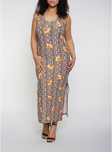 Plus Size Racerback Printed Maxi Dress,GOLD,large
