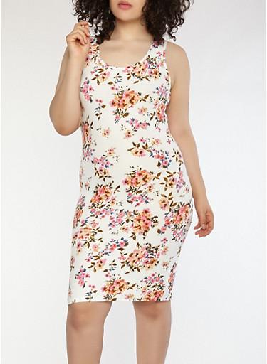 Plus Size Floral Soft Knit Tank Dress,IVORY,large