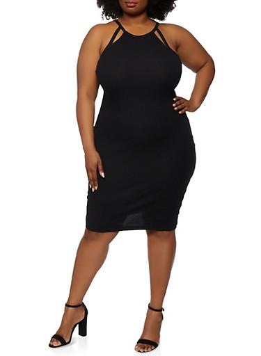 Plus Size Cut Out Cami Dress,BLACK,large