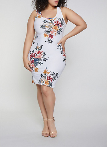 Plus Size Floral Tank Dress | 1390051064947,IVORY,large