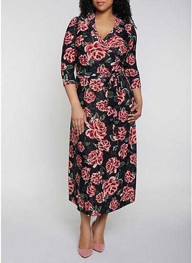 Plus Size Belted Faux Wrap Floral Maxi Dress,BLACK,large
