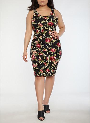 Plus Size Rose Print Tank Dress,BLACK,large