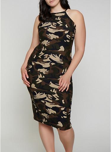 Plus Size High Neck Camo Dress,OLIVE,large