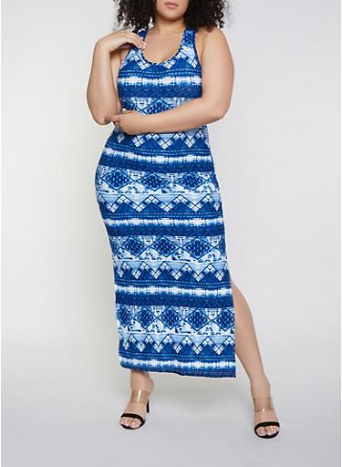 Plus Size Aztec Soft Knit Print Tank Maxi Dress,BLUE,large