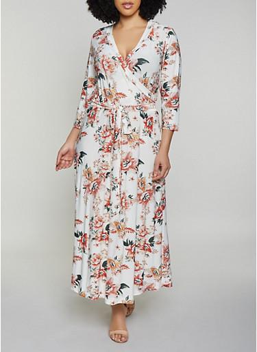 Plus Size Floral Faux Wrap Maxi Dress | 1390051065955 - Rainbow