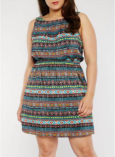 Plus Size Sleeveless Printed Dress with Cinched Waist,BLACK,large