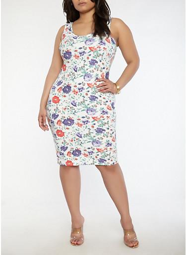 Plus Size Floral Midi Tank Dress,IVORY,large