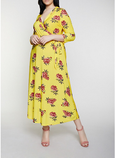 Plus Size Faux Wrap Floral Belted Maxi Dress,YELLOW,large