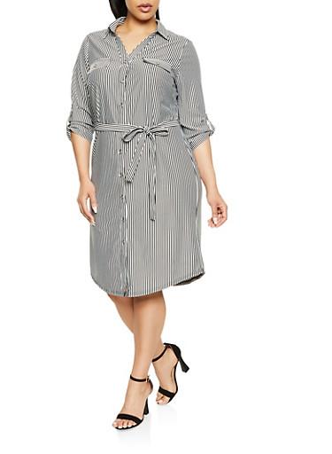 Plus Size Tabbed Sleeve Striped Shirt Dress,BLACK/WHITE,large