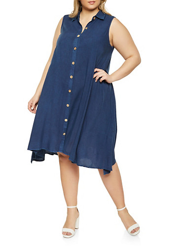 Plus Size Sleeveless Chambray Shirt Dress,DENIM,large