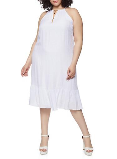 Plus Size High Neck Ruffled Hem Shift Dress,WHITE,large