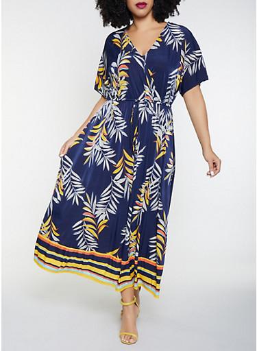 Plus Size Printed Faux Wrap Maxi Dress,NAVY,large