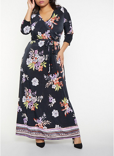 d6f70e15301 Plus Size Floral Faux Wrap Maxi Dress - Rainbow