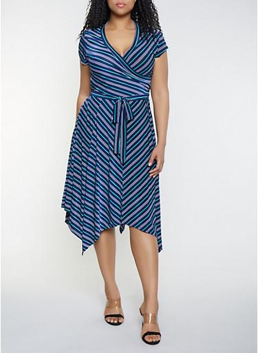 Plus Size Faux Wrap Sharkbite Hem Dress,NAVY,large
