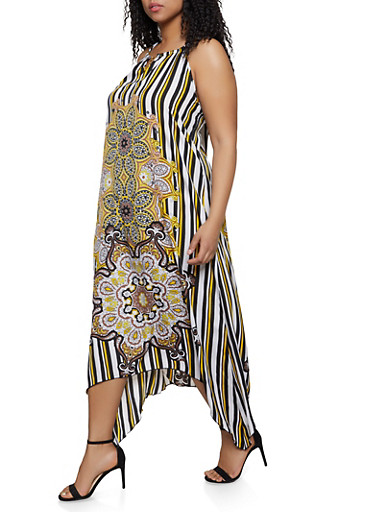Plus Size Abstract Flower Print Maxi Dress,BLACK,large