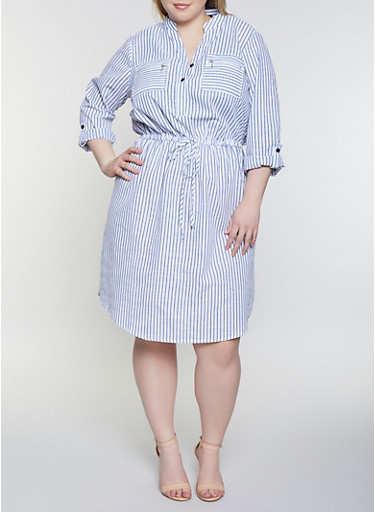 Plus Size Striped Half Button Dress,WHITE/BLUE,large