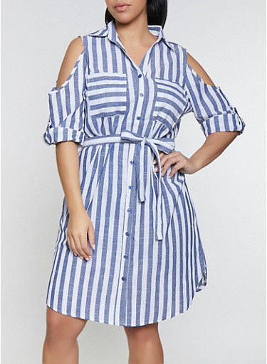 Plus Size Striped Cold Shoulder Shirt Dress,WHITE/BLUE,large