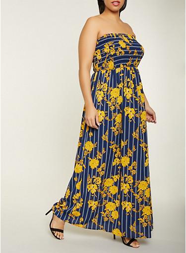 Plus Size Striped Floral Tube Maxi Dress,MUSTARD,large