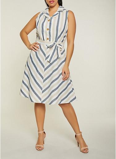 Plus Size Sleeveless Striped Half Button Dress,MULTI COLOR,large