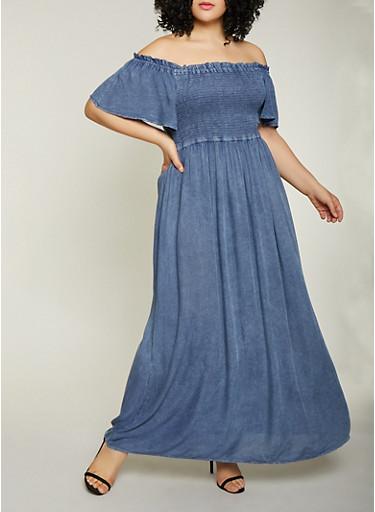 Plus Size Off the Shoulder Chambray Maxi Dress,DENIM,large
