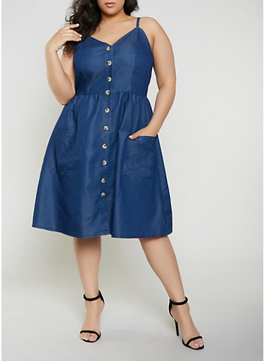 Plus Size Button Front Denim Skater Dress,DENIM,large