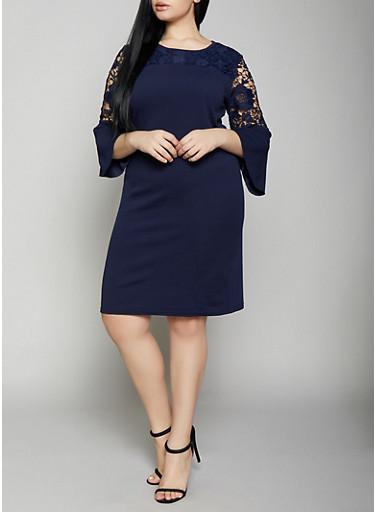 Plus Size Crochet Insert Bell Sleeve Dress,NAVY,large