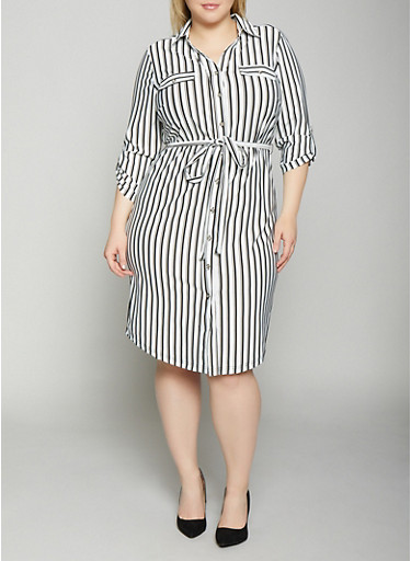 Plus Size Striped Shirt Dress | Black and White,BLACK/WHITE,large