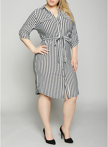 b782b3e6e Plus Size Belted Striped Shirt Dress,BLACK/WHITE,large