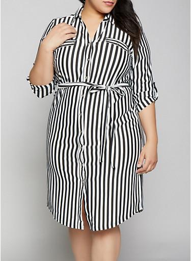 Plus Size Tab Sleeve Striped Shirt Dress,BLACK/WHITE,large