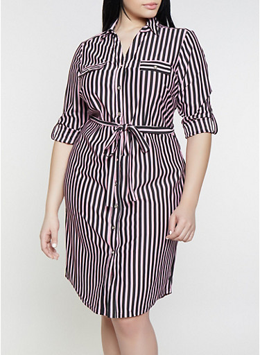 Plus Size Striped Long Sleeve Shirt Dress,RED,large