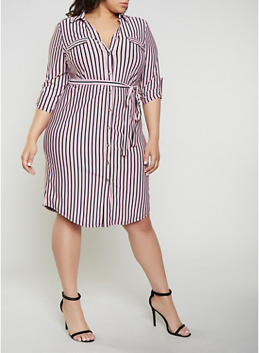 Plus Size Button Front Striped Shirt Dress,WINE,large