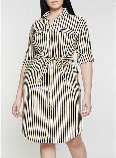 Plus Size Button Front Striped Shirt Dress,MUSTARD,large