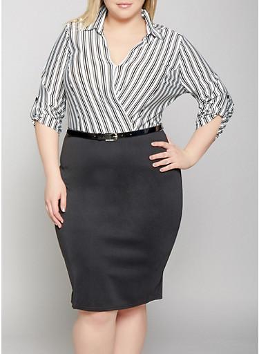 Plus Size Belted Faux Wrap Dress,BLACK/WHITE,large