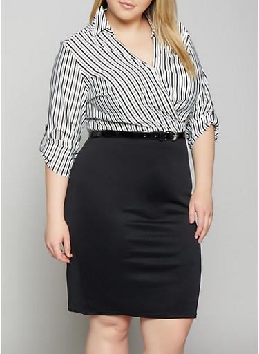Plus Size Striped Faux Wrap Belted Dress,BLACK/WHITE,large